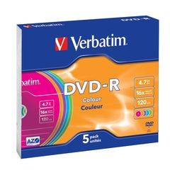Verbatim 5 x DVDRW-R - Colour Cases