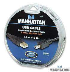 Manhattan USB 2.0 A/Mini 4-pin 3.0M Silver (390378)
