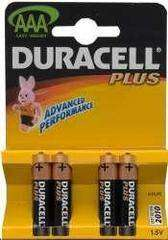Duracell 1.5v AAA Alkaline Plus Battery Pack of 4