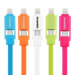 HAWEEL 2 in1 Micro USB & Lightning to USB Charging Cable Multicolo
