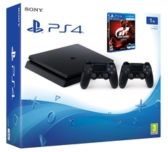 Game Console Sony Playstation 4 PS4 1TB With 2 Control + Game GT SPORT