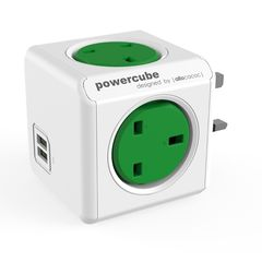 allocacoc PowerCube Original USB Green 4 Outlets + 2 USB
